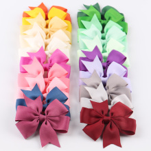20pcs/lot 7 Style Grosgrain Ribbon Hair Bows With Clips Girl Hair Ties Rope Kids Hair Clips Hairpins Christmas Hair Accessories