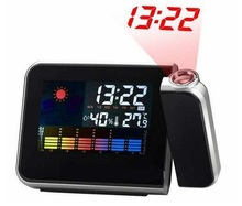 Cheap Digital LCD Screen LED Projector Alarm Clock Mini Desktop Multi-function Weather Station Dropshipping