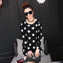 New 2017 autumn winter women Women mini dress long sleeve Loose Casual tunic o-neck dresses tops print black and white dot(China)