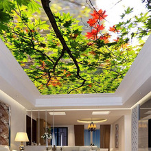 3D Wallpaper For Wall Custom Nature Scenery Wall Covering Green Tree Leaves Ceiling Wall Mural Home Decor Backdrop Wallpaper