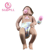 [SGDOLL] Reborn Toddler Sleeping Dolls 22'' Handmade Lifelike Baby Solid Silicone Vinyl Early Education Hospital Toy 16062415(China)