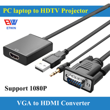 Free Shipping 0.15m VGA to HDMI Converter Cable Adapter with Audio 1080P VGA HDMI Adapter for PC Laptop to HDTV Projector(China)