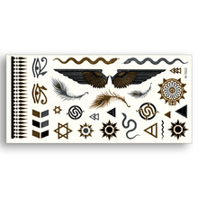 Temporary Fake Gold tattoos Waterproof Water Transfer Stickers Egypt Feather Sun Star Wings snake eye Women Beauty Body Art(China)