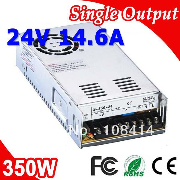S-350-24 350W 24V 14.6A Single Output Switching power supply for LED SMPS AC to DC<br>