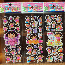 50Pcs/lot (7 * 17 cm) Dora Stickers Party Supplies Dora the Explorer kids Cute Cartoon Brand Stickers Puffy Bubble Toys