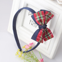 Hot Sale Vintage Girl Kids Soft Plaid Stripe Bow Hair Bands Headband Head Wrap Hair Band Big Bowknot Accessories(China)