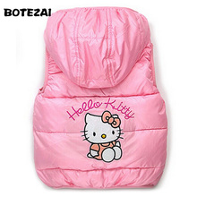 Children Outerwear Clothing Hello Kitty Baby Girl Cotton Padded Vest Warm Winter Waistcoat Autumn Kids Girls Clothes