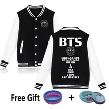 LUCKYFRIDAYF Kpop BTS Sweatshirt Bangtan Boys Baseball Uniform Women Men Hoodies Jungkook Jimin Suga Pink Jacket Fleece Hoodies