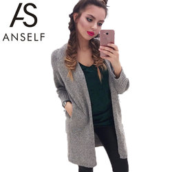 ANSELF New Autumn Winter Women Cardigan Long Sleeve Knitted Sweater Casual Long Cardigan Women Loose Sweater Knitwear Blusas