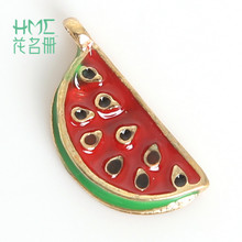 Hot Watermelon Enamel Metal Alloy Fruit Charm Pendant for DIY Earring DIY Jewelry Necklace Accessories