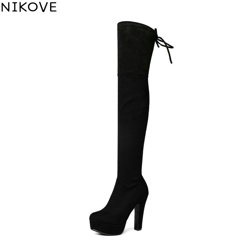 NIKOVE 2018 Platform Over The Knee Boots Thin High Heel Women Boots Ladies Stretch Fabric Lace Up Fashion Boots Big Size 34-43<br>