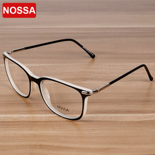 NOSSA Women & Men's Elegant Acetate Eyeglasses Students Optical Eyewear Frame Blue White Spectacle Frames Clear Lens Goggles(China)