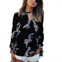 2017 Women Spring Autumn Casual Chiffon Blouse Flower Print V Neck Long Sleeve Shirts Tops Female Fashion Plus Size Loose Blusas