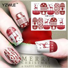 Water sticker for nails art all decorations sliders merry Christmas deer adhesive nail design decals manicure lacquer foil