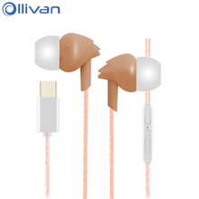 Ollivan Type C Earphone Conch Shape Super Bass In-ear Earphones With Microphone Letv Earbuds For LeEco Le 2 Le Pro2 MAX2