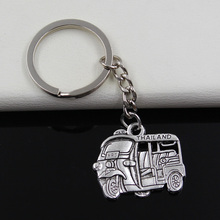 99Cents Keychain 27*33mm Thailand taxi car bus Pendants DIY Men Jewelry Car Key Chain Ring Holder Souvenir For Gift