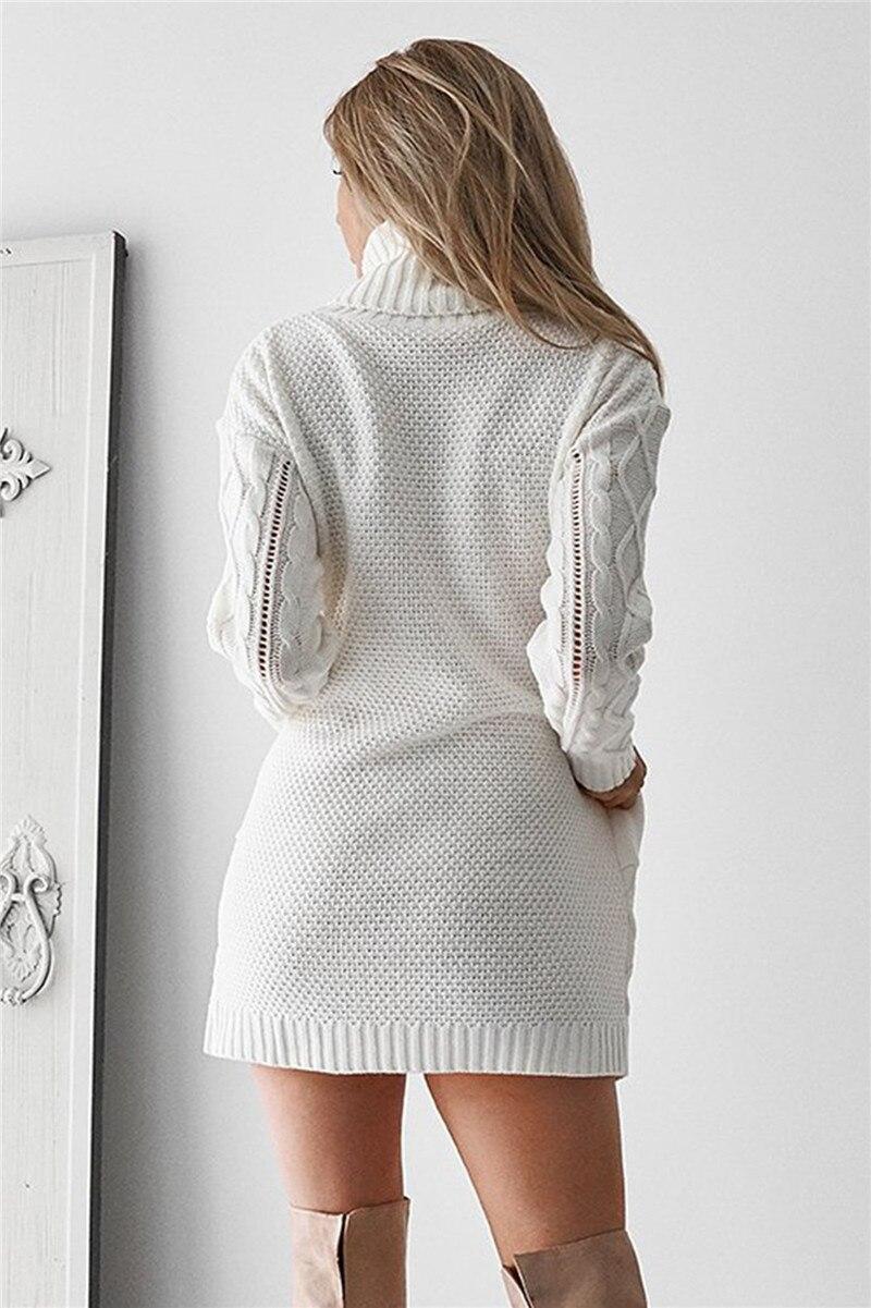 6b0199c33dc Winter Long Sweater Dress Women s Turtleneck Sweaters Pullover Female  Knitted Lady s Sweater Pullover Women Solid pull femme