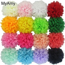 MyAmy 80pcs/lot 4.5 Inch Alternative Chiffon Hair Flowers WITHOUT Clips For Shoes Clothing Hair DIY Garment Accessories