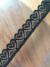 100yards /lot 2cm width black color lovely cute heart shape elastic stretch small lace for wedding bridal headband ribbon zakka