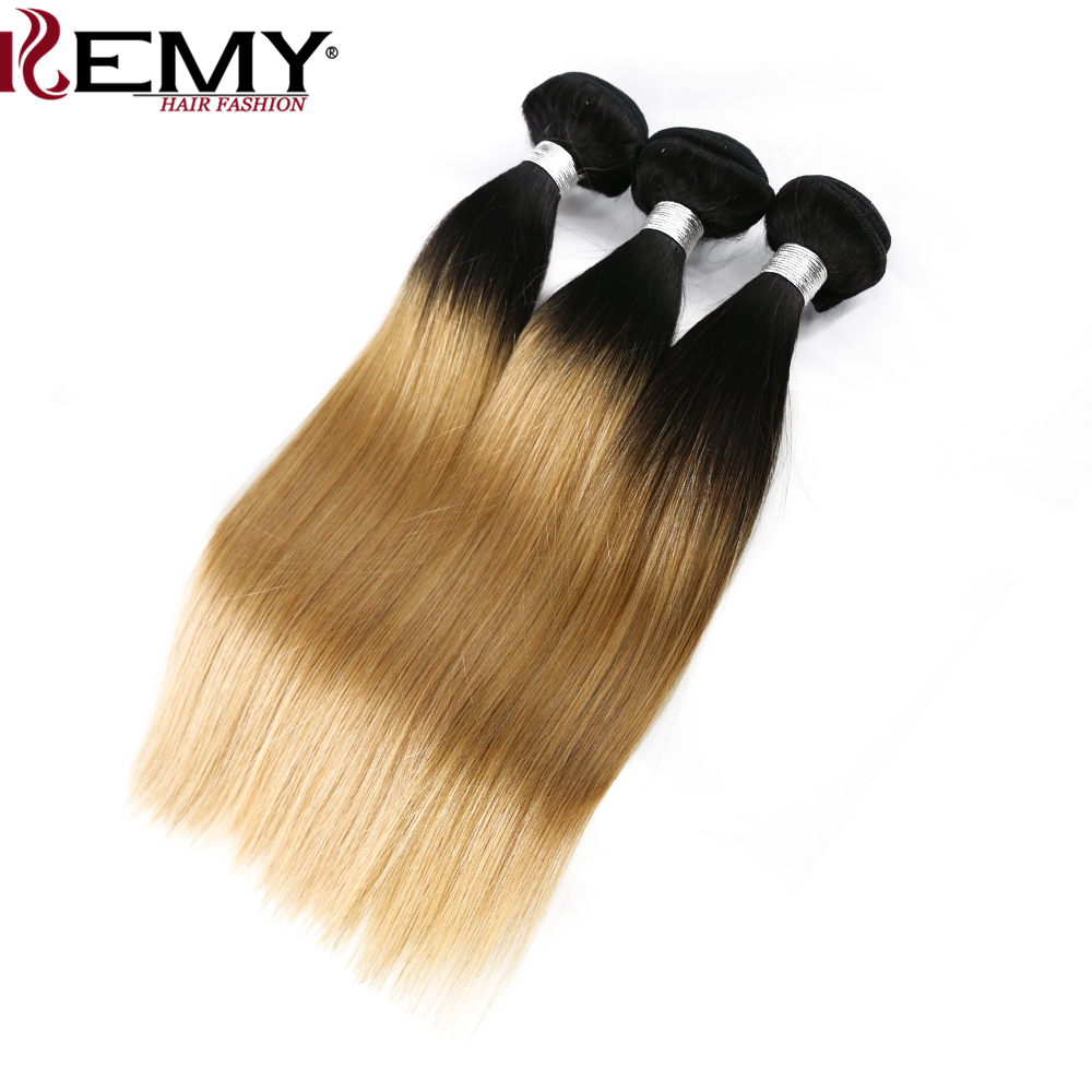 KEMY HAIR Pre-Colored Brazilian Non-Remy Straight Hair Weaves Ombre blonde Human Hair 3 Bundles With Closure 4×4 Free Part