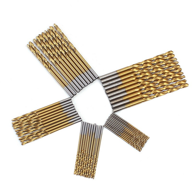 Hot Selling 50pcs 1/1.5/2/2.5/3mm HSS High Speed Steel Drill Bit Set Tools Titanium Coated VEP37