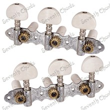 A Set White Pearl Button Classical Guitar String Tuners Tuning Peg Machine Heads - Chrome - Gear Ratio 1:15(China)