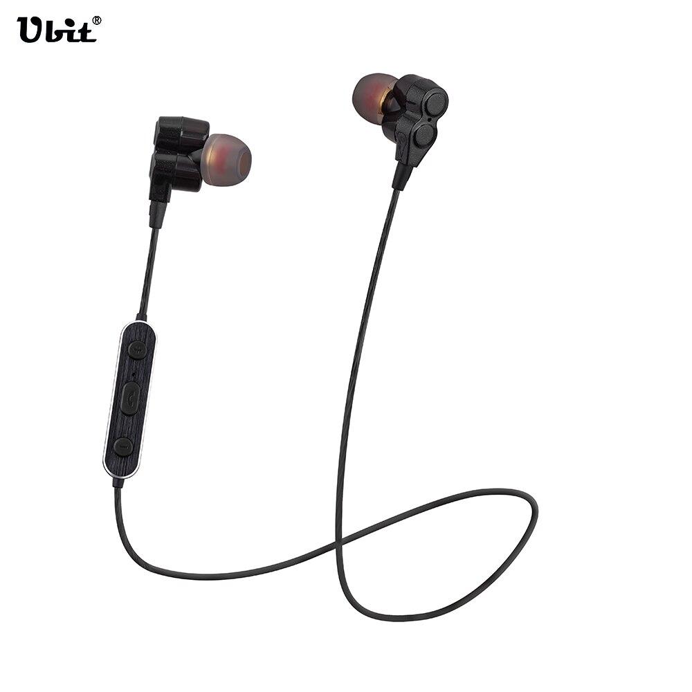 Ubit WY-S12 Sports Stereo Bluetooth Headphone Headset Necklace Dual Speaker Drive Portable Waterproof Wireless Earphone Earbuds <br>