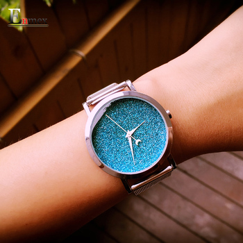 Senhoras relógio enmex presente novo estilo de design criativo luz das estrelas no céu noturno simples rosto banda de aço de quartzo moda relógio de pulso