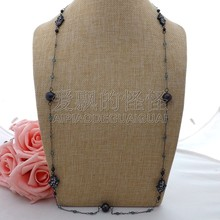 "K063004 36"" Black Keshi Pearl Cz Pave Hamsa Long Chain Necklace(China)"