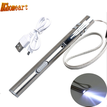 Mini Usb Stainless Led Flashlight Keychain 0.5W 70mA Rechargeable Torch Flashlights China Portable Led Lamp Camping pen light(China)