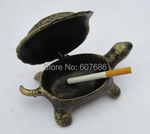 3 Piece Cast Iron Turtle Ash Reciever Holder Metal Cigarette Ashtray Antique Bar Pub Club Home Table Smoking Accessory Free Ship(China)