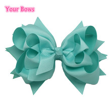 1PC 2016 5Inches Hair Bows 3 Layer Solid Aqua Blue Boutique Ribbon Bows Hair Clips Girls Hairpin Cute Kids Bows Hair Accessories(China)