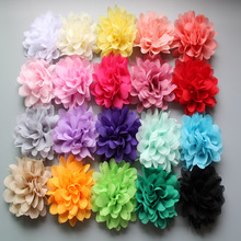 20pcs/lot 2017 new 20color alternative big chiffon hair flower 10cm headband diy flowers without clips flat back free shipping