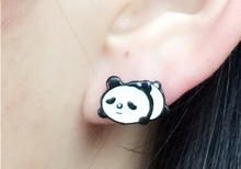 south Korea style cute metal panda earring new fashion high quality animal panda stud earring for friends lovers women best gift(China)