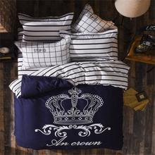 Hot sale crown Printed Comforter White Plain Bedlinen Cozy Cotton Bedding Sets 3pcs Or 4pcs twin full queen Bed Sheets bs0028-1