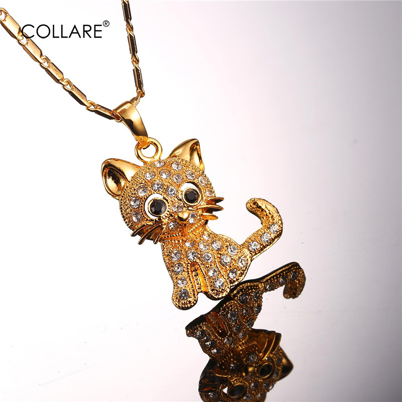 Collare Anime Cat Pendant Gold/Silver Color Crystal Animal Rhinestone Hello Kitty Cat Necklace Women Wholesale Jewelry P016(China (Mainland))