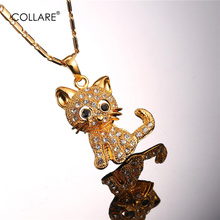 Collare Anime Cat Pendant Gold/Silver Color Crystal Animal Rhinestone Hello Kitty Cat Necklace Women Wholesale Jewelry P016(China)