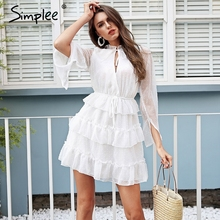 Buy Simplee Sexy v neck ruffle white dress women High waist lace short dress summer 2018 Elegant chiffon casual dress vestidos for $23.99 in AliExpress store