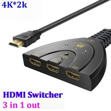 300pcs/lot* 4K *2K 3 Port HDMI Splitter sp1080P 3D Switcher 3x1 Auto Switch 3 In 1 Out Converter Cable support all For Apple PS4(China)