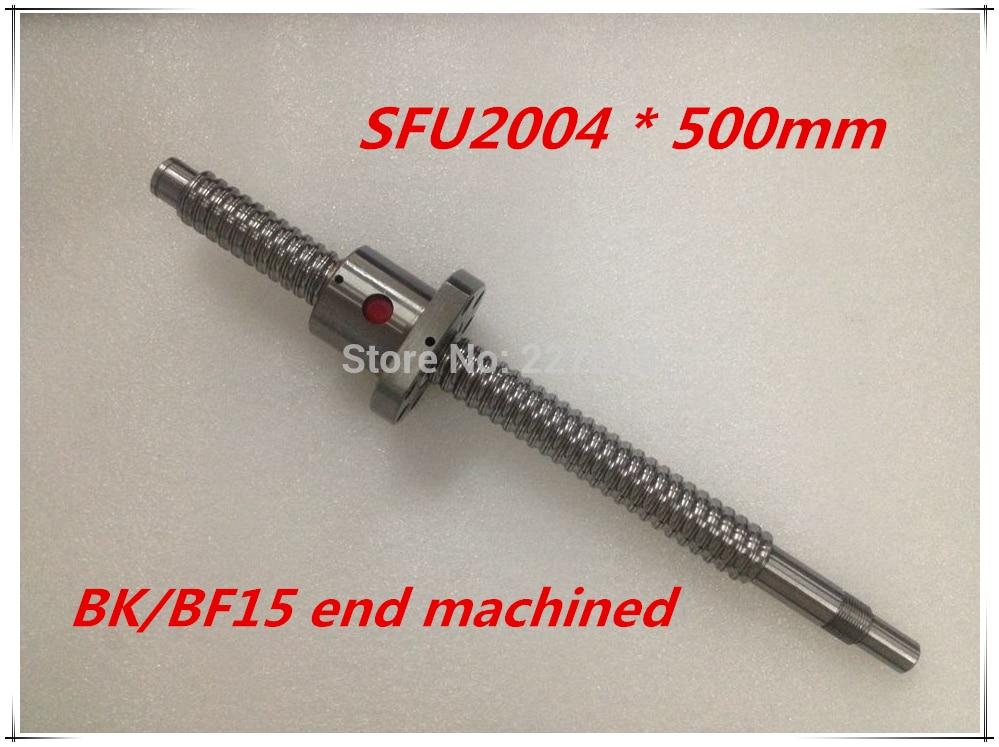 SFU2004 500mm Ball Screw Set : 1 pc ball screw RM2004 500mm+1pc SFU2004 ball nut cnc part standard end machined for BK/BF15<br>