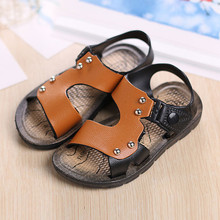 2016 New Fashion Summer Baby Boys Shoes Solid PU Beach Slippers Kids Toddler Flip Flops Childrens Home Flat Sandals