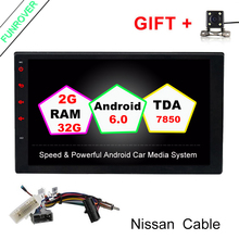 "2G+32G Quad Core 7"" 2 Din Android 6.0 Car DVD Radio Multimedia Player 1024*600 Universal GPS For Nissan vesa micra navara tiida(China)"