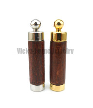 Brown wood aroma pendant free shipping in 316L stainless steel vial pendant for essential oil aroma pendant(China)