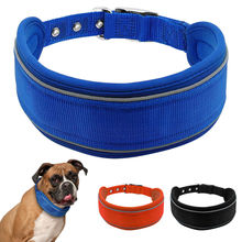 "3 Colors Soft Paded Reflective Nylon Dog Collars Adjustable Neck For 20-24"" Fit For Medium Large Breeds(China)"
