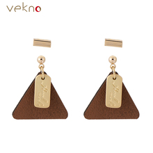 VEKNO Gold Color Leather Triangle Earrings For Girls Fashion Minimal Chandelier Drop Earrings Femme Brincos 90s Jewelry