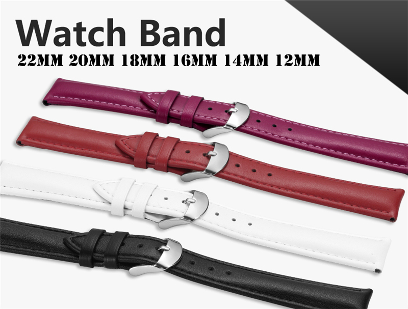Leather Watchband Men Women Watch Band 22mm 20mm 18mm 16mm 14mm 12mm Wrist Watch Strap On Belt Watchbands Bracelet Metal Buckle  (1)