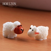 2 pcs/ Set kawaii sheep Swan fairy home micro garden decoration moss doll house ornaments miniature/terrarium DIY accessories(China)
