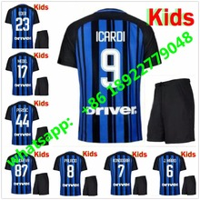 17 18 kids Inter home soccer jersey 2017 JOVETIC ICARDI PALACIO KONDOGBIA MEDEL CANDREVA Milans Children football shirts