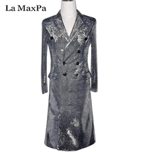 La MaxPa 2017 male singer DJ Long Jacket Silver Gray Long Design Coat  Singer Dance Stage