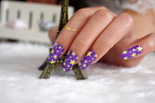 Y5210 Manicure Foil Decor Acrylic Decal Adhesive Nail Art Stickers Fashion Purple Yellow Star Pentagram Design Nail Wrap Sticker